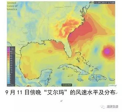 """飓风""""艾尔玛""""登陆形成的降水影响分布:"""